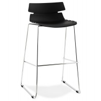 Tabouret haut ´mary´ noir empilable contemporain