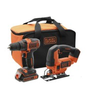 Pack perceuse et scie sauteuse sans fils black and decker 18v