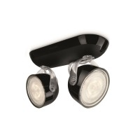 Réglette 2 spots led phillips dyna noir