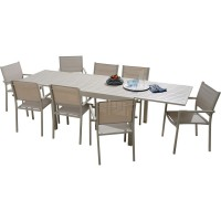 Table happy aluminium avec allonge 135/270cm