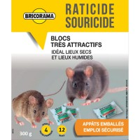 Raticide souricide blocs bricorama 300g
