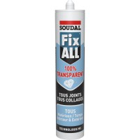Mastic colle soudal fix all 100% transparent 290ml