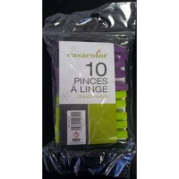 Lot de 10 pinces à linge en plastique casacolor