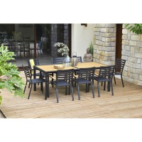 Table de jardin rectangulaire belize extensible aluminium
