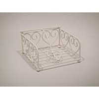 Porte-serviette table en métal l.15 x l.15 cm blanc