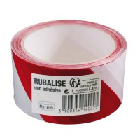 Ruban de signalisation rubalise blanc/rouge 100mx48mm