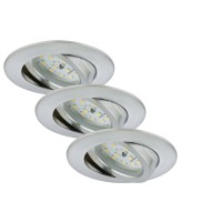 Set 3 spots encastrable led orientable briloner module 5w ip23 alu rond
