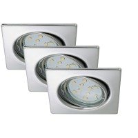 Set 3 spots encastrables led briloner 3xgu10 3w 250 lm chrome carré 83x83mm