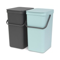 Poubelle de cuisine built-in bin brabantia sort & go 2 x 16l mint / grey