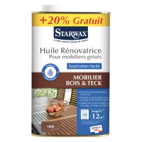 Huile rénovatrice mobilier grise application facile teck starwax 750ml+20%