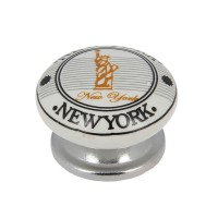 Bouton new york mode de vie d.38mm blanc nickelé