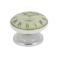 Bouton horloge mode de vie d.38mm blanc nickelé