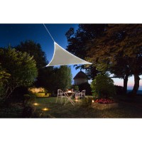 Voile d'ombrage jardiline triangulaire 3,60m taupe avec 107 led solaires