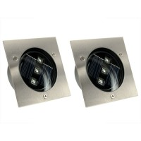 Lot de 2 spots solaires encastrables carré 3 led