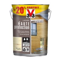 Lasure bois v33 haute protection les intemporelles incolore satin 5l+20%