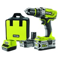 Perceuse visseuse à percussion sans fil ryobi r18pd31-252s 18v + 2 batteries lithium
