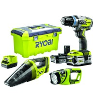 Perceuse sans fil à percussion ryobi r18pdbl-252vlt brushless one+ 18v + accessoires