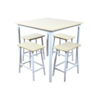 Table + 4 tabourets joris blanc