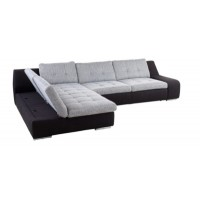 Canapé d'angle convertible chaise longue gauche enjoy pack expo tissu silver graphit