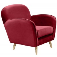 Fauteuil vintage cluby velours rouge