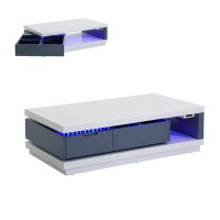 Table basse led design fever blanc et gris