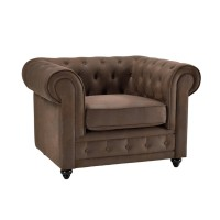 Fauteuil chesterfield chester tissu vintage marron