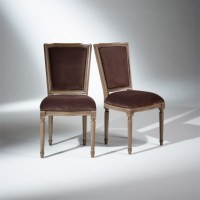 2 chaises marie antoinette, assise velours marron