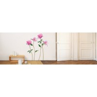 Sticker mural pivoine rose (porchez )