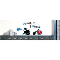 Sticker mural peace music (la cocotte )