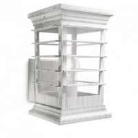 Applique lanterne rétro patio ip44 h23 cm - blanc