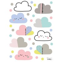 Stickers nuages et pois multicolore