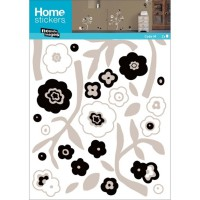 Sticker mural black and white flowers