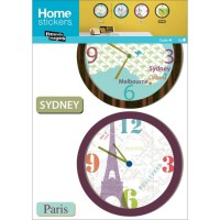 Sticker mural horloges paris et sydney