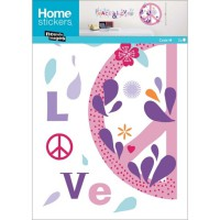 Sticker mural peace and love flower