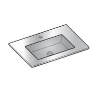 Plan vasque verre blanc cooke & lewis meltem 65 cm
