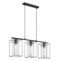 Suspension 3 spots cajal noire l.74cm 3x42w
