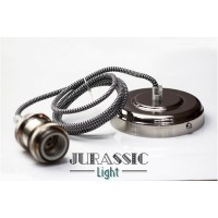 Ampoule vintage jurassic-light suspension argent
