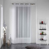 Voilage motif constellation - blanc - 140 x 240 cm