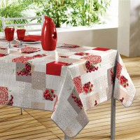 Nappe rectangulaire imprimée fruits rouges - multicolore - 140 x 240 cm