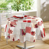 Nappe ronde imprimée fruits rouges - multicolore - (0) 160 cm