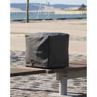 Pouf forme cube - taupe - 43 x 43 x 43 cm