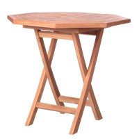 Table octogonale en teck - naturel - 80.00 cm x 80.00 cm x 75.50 cm