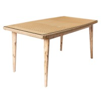 Table rectangulaire en corde et en bois - naturel - 160.00 cm x 90.00 cm x 76.00 cm