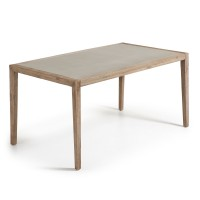 Table rectangulaire en poly-cement - naturel - h 76 x 160 cm