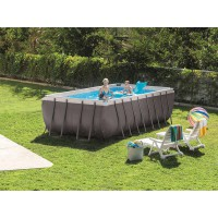 Piscine tubulaire ultra silver rectangulaire 4,57 x 2,74 x 1,22 m - intex