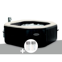 Spa gonflable purespa octogonal bulles + jets 6 places + kit de traitement au brome - intex