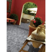 Carrelage district gris 45x45 bord encastrable ép.10 mm aspect naturel