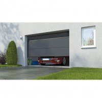 Porte garage sectionnel columbia prémonté contemporain gris h.200 x l.240 somfy