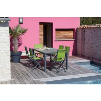 Table stoneo 180x90 alu/trespa grey/wood - pro loisirs