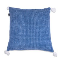 Coussin efffet tweed bleu 100% coton 50 x 50 cm - in the mood